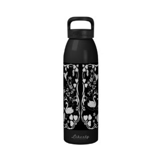 3 swans and hummingbirds white reusable water bottle