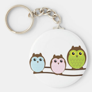 3 sweet owls key chain