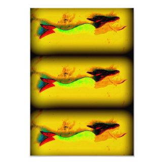 3 swimming mermaids invitation card