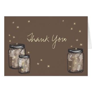 3 tarros de albañil llenados de las luciérnagas tarjeta pequeña