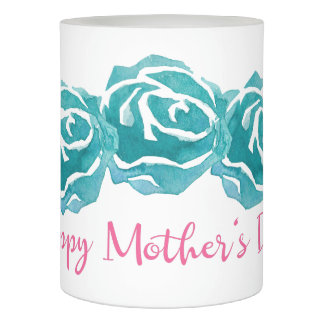 3 Teal Watercolor Roses Happy Mother's Day Flameless Candle