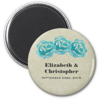 3 Teal Watercolor Roses on Tan Damask Wedding Magnet
