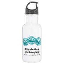 3 Teal Watercolor Roses Wedding Water Bottle
