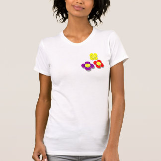 3 Tennis ball Flowers with Grey shadow, Left T-Shirt
