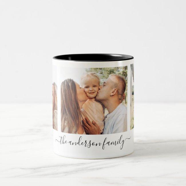 3 Three Photo Collage Family Photos Two-Tone Coffee Mug