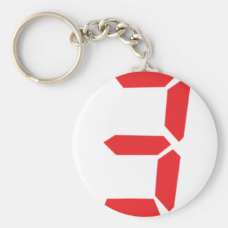 3 three red alarm clock digital number basic round button keychain