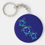 3 Tie Dyed Honu Turtles Basic Round Button Keychain