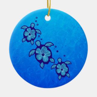 3 tortugas azules de Honu Adornos