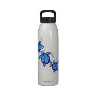 3 tortugas azules de Honu Botellas De Agua Reutilizables