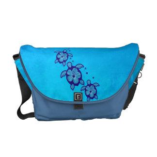 3 tortugas azules de Honu Bolsas De Mensajeria