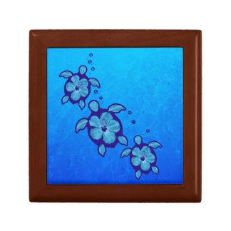 3 tortugas azules de Honu Caja De Joyas
