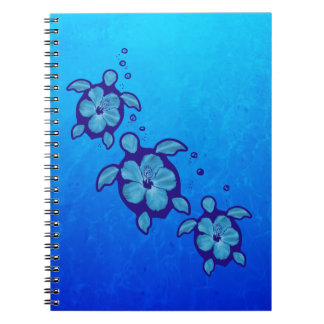 3 tortugas azules de Honu Libretas Espirales