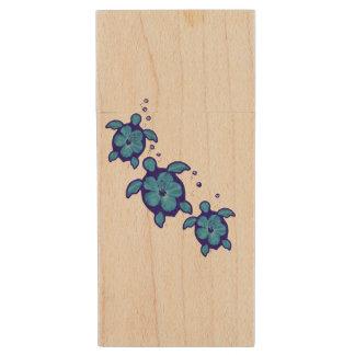 3 tortugas azules de Honu Memoria USB 2.0 De Madera