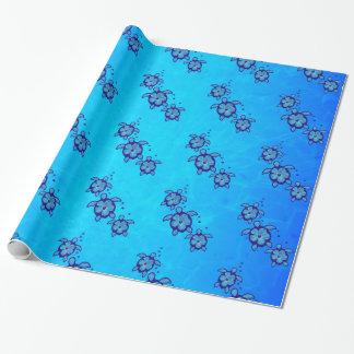 3 tortugas azules de Honu Papel De Regalo
