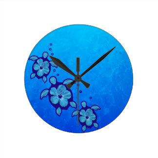 3 tortugas azules de Honu Reloj Redondo Mediano