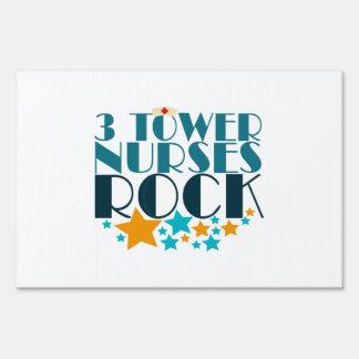 3 Tower Nurses Rock Lawn Sign