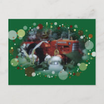 3 toy tractors at christmas holiday postcard