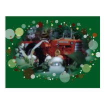 3 toy tractors at christmas postcard