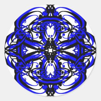 3 transparentes alternos azules pegatina redonda