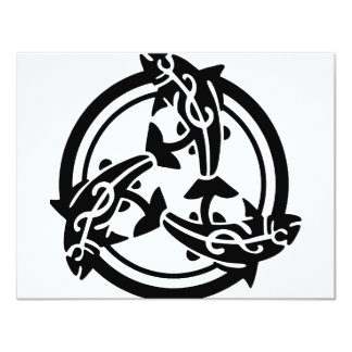 3 Tribal Dolphins 4.25x5.5 Paper Invitation Card
