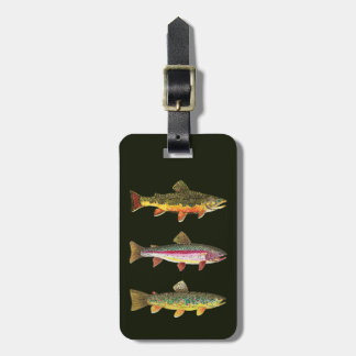 3 Trout - Brook, Brown, Rainbow Luggage Tag