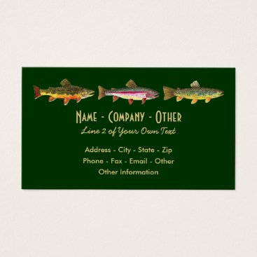 Professional Business 3 Trout: Brook Rainbow Brown - Fly Fishing Angler Business Card