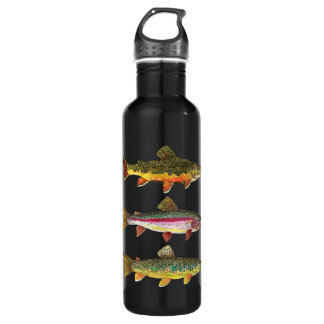 3 Trout for a Fisherman or Fisherwoman Stainless Steel Water Bottle