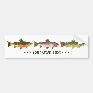 3 Trout for Fly Fishing Fishermen and Fisherwomen Bumper Sticker