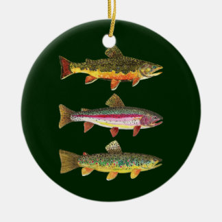 3 Trout for Fly Fishing Fishermen and Fisherwomen Ceramic Ornament