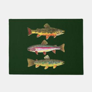 3 Trout for Fly Fishing Fishermen and Fisherwomen Doormat