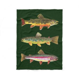 3 Trout for Fly Fishing Fishermen and Fisherwomen Fleece Blanket