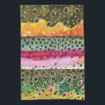 """3 Trout Skins Angling Ichthyology Fly Fishing Hand Towel<br><div class=""""desc"""">The beautiful colors and patterns of 3 trout: the Brook Trout, the Rainbow Trout and the Brown Trout. From Mr. Trout Whiskers&#39; original watercolor paintings that show all of the beautiful colors and patterns of these gorgeous fish. Makes a great gift for anglers who love fly fishing and for ichthyologists...</div>"""