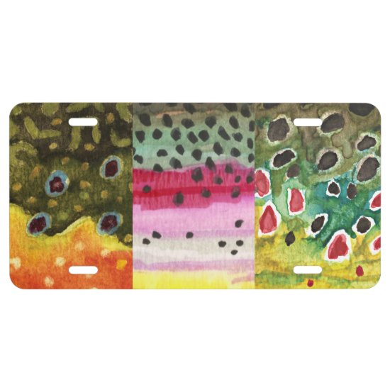 3 Trout Skins: Brook, Rainbow, Brown - Fly Fishing License Plate