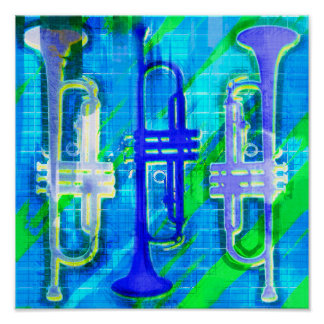 3 Trumpets Abstract Poster