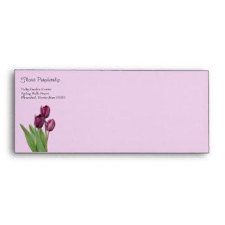 3 tulipanes púrpuras con las hojas sobres
