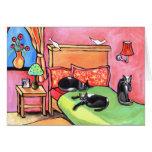 3 tuxedo cats card greeting card