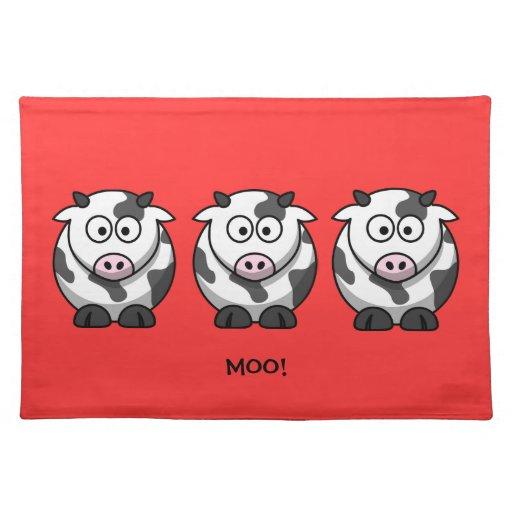 3 vacas gordas redondas divertidas del dibujo anim manteles individuales