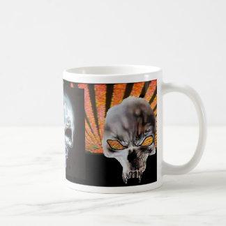 3 Vampire Skulls Orange Rising Sun Coffee Mug