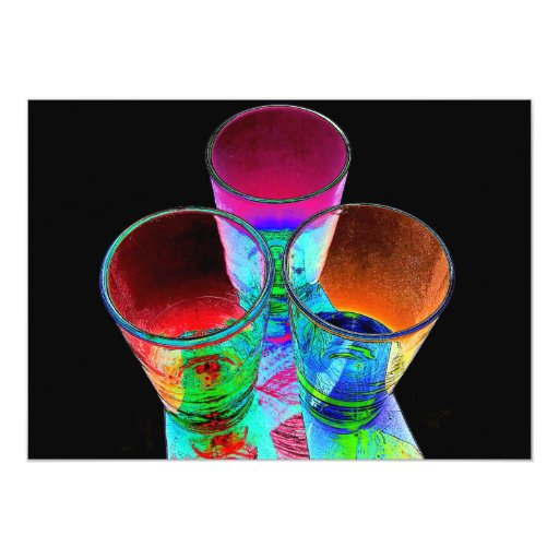 3 vasos de medida coloreados del cóctel - estilo 1 invitación 12,7 x 17,8 cm