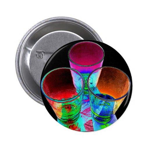 3 vasos de medida coloreados del cóctel - estilo 1 pin redondo 5 cm