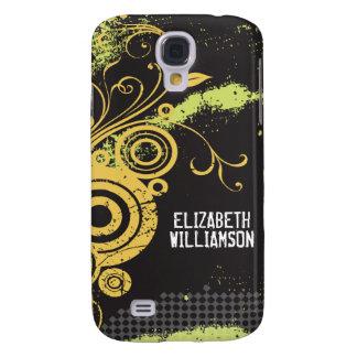 3 Velvet Grunge Flourish (yellow) Samsung Galaxy S4 Cover