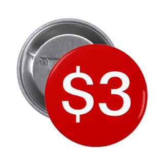 $3 vendedores/botón de las ventas pin redondo de 2 pulgadas