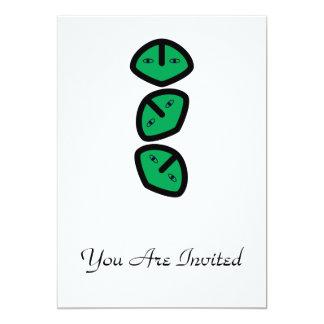 3 Vertical Alien Heads Faces 5x7 Paper Invitation Card