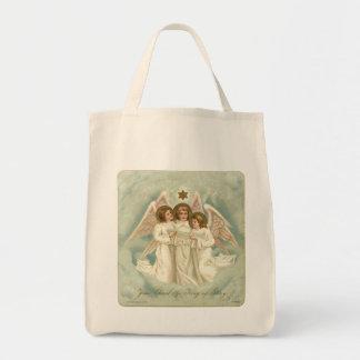 3 Vintage Angels Christian Grocery Tote Bag