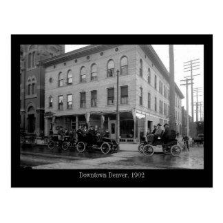 3 vintage automobiles downtown Denver Post Cards