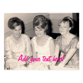 3 vintage girls postcards..customize postcard