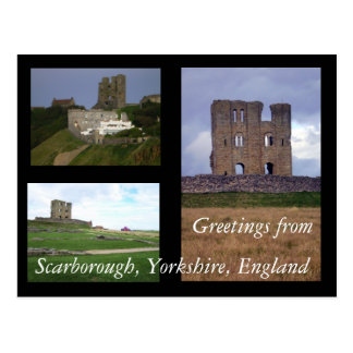 3 vistas del castillo de Scarborough, Yorkshire, I Tarjeta Postal