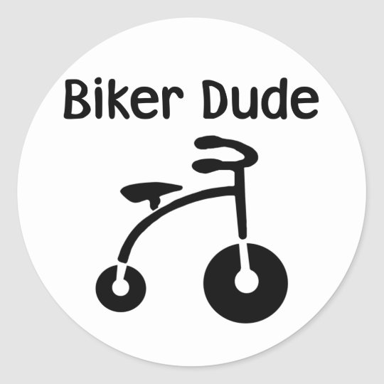 3 Wheeler  Retro Biker Dude Classic Round Sticker
