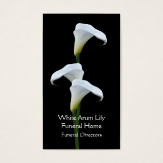 3 white arum lilies funeral directors business card