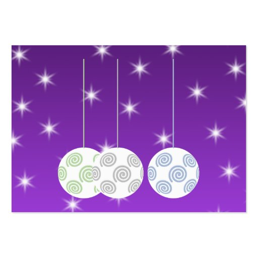 3 White Christmas Baubles on Purple Background. Business Card Template